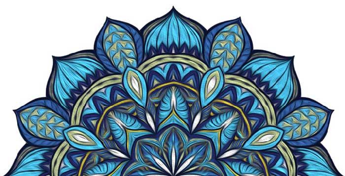 mandala colorato blu olio