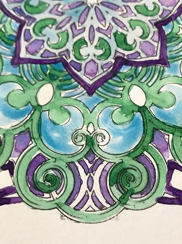 mandala colorato ad acquarello blu e verde