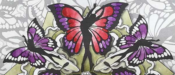 mandala delle donne farfalla colorato ad acquarello